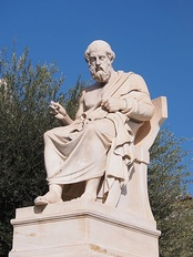 "Statue of Plato, Athens. ""The safest general characterisation of the European philosophical tradition is that it consists of a series of footnotes to Plato."" (Alfred North Whitehead, Process and Reality, 1929)."