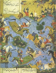 A miniature painting marking the downfall of the Shirvanshahs at the hands of the Safavids.