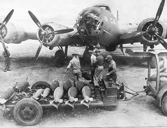 A B-17D being loaded with bombs[note 2]