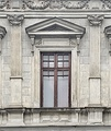 Window with a pediment above it, on Calea Moșilor (a historic street and a major road in Bucharest)