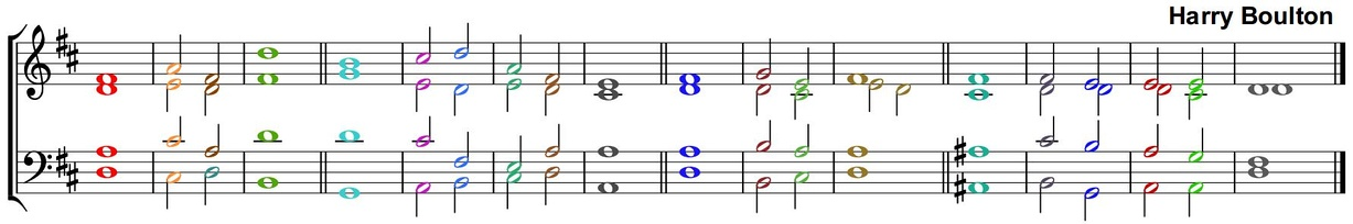 A double Anglican Chant with the chords in different colours