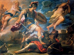 Aeneas's defeat of Turnus (book 12), painting by Luca Giordano
