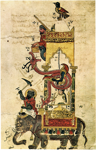An elephant clock in a manuscript by Al-Jazari (1206 AD) from The Book of Knowledge of Ingenious Mechanical Devices.[29]