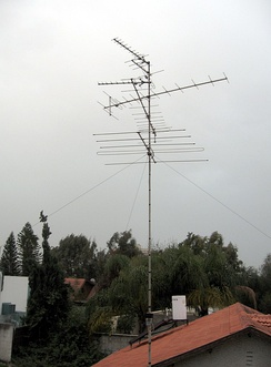 VHF television antennas used for broadcast television reception.  These six antennas are a type known as a Yagi antenna, which is widely used at VHF
