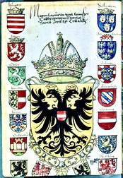 Page from an armorial showing arms of Kaiser Maximilian I ca 1508-1519