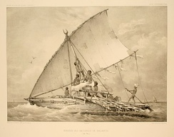 Fijian voyaging outrigger boat with a crab claw sail