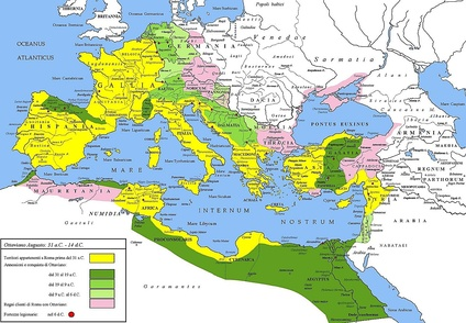 Roman Empire under Augustus (31 BC – AD 14). Yellow: 31BC. dark green 31–19 BC, light green 19–9 BC, pale green 9–6 BC. mauve: client states