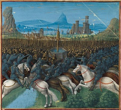 Virtually the entire Kingdom of Jerusalem passed into Ayyubid hands after their victory against the Crusaders in the Battle of Hattin in 1187; illustration from Les Passages faits Outremer par les Français contre les Turcs et autres Sarrasins et Maures outremarins, circa 1490