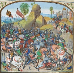 Miniature from Jean Froissart Chronicles depicting the Battle of Montiel (Castilian Civil War, in the Hundred Years' War)