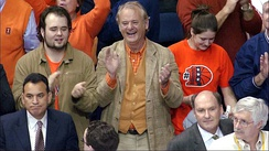 Bill Murray cheering for the Illinois Fighting Illini men's basketball team at the 2005 Final Four in St. Louis