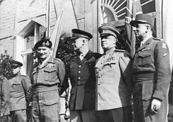 The Supreme Commanders of the Four Powers on June 5, 1945, in Berlin: Bernard Montgomery, Dwight D. Eisenhower, Georgy Zhukov and Jean de Lattre de Tassigny