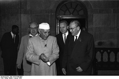 Nehru with Otto Grotewohl, the Prime Minister of East Germany