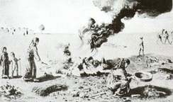 The burning of bodies of Assyrian women