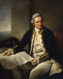 "Famous official portrait of Captain James Cook who proved that waters encompassed the southern latitudes of the globe. ""He holds his own chart of the Southern Ocean on the table and his right hand points to the east coast of Australia on it.""[43]"