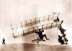 Chanute's hang glider of 1896. The pilot may be Augustus Herring.