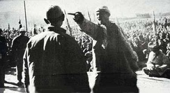 Farmer confronting landlord during Mao Zedong's mass purging of landlords