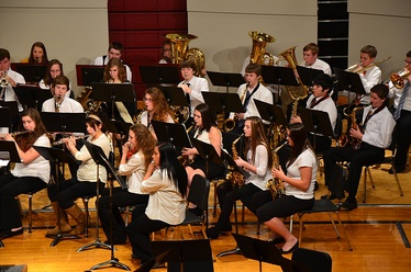 A high school concert band—BHS Band in performance, 2013