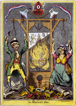 English cartoon attacking the excesses of the Revolution as symbolised by the guillotine; between 18,000 and 40,000 people were executed during the Reign of Terror.