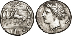 Decadrachme from Sicile struck at Syracuse and sign d'Évainète