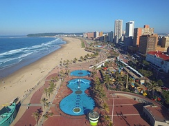 "Durban is well-known for it's beachfront and ""Golden Mile"" promenade"