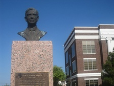 Statue of Mahon on grounds of Mitchell County Courthouse in Colorado City, Texas.
