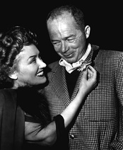 Photograph of Billy Wilder with actress Gloria Swanson during filming of Sunset Boulevard.