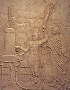 An ancient hydraulic telegraph being used by Aeneas to send a message.