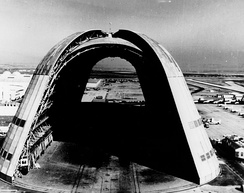 View of Hangar One, the huge dirigible hangar, with doors open at both ends