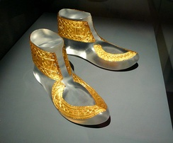 Gold shoe plaques from the Iron Age Hochdorf Chieftain's Grave, Germany, c. 530 BC.