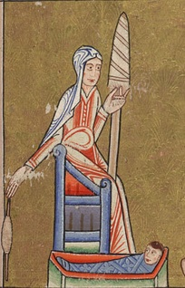 A depiction of an English woman c. 1170 using a spindle and distaff, while caring for a young child