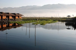 Stilt houses at Inle Lake.