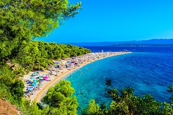 Zlatni Rat beach on the Island of Brač is one of the foremost spots of tourism in Croatia.
