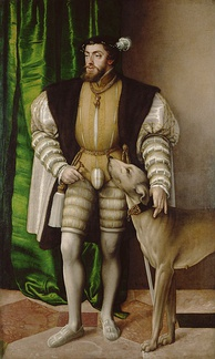 A Portrait of Charles V with a Dog by Jakob Seisenegger, 1532