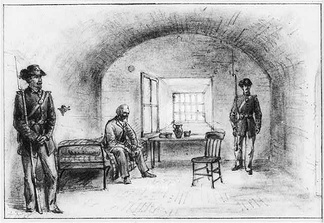Sketch by Alfred R. Wauld of Jefferson Davis imprisoned in the casemate (1865)