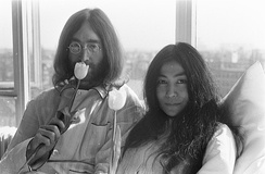 Lennon and Ono at a Bed-In at  Hilton Amsterdam, March 1969