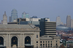 Downtown Kansas City during the day from the lawn of Liberty Memorial.