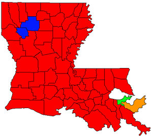 Parishes won by Gubernatorial Candidates in the October 20, 2007 Election. .mw-parser-output .legend{page-break-inside:avoid;break-inside:avoid-column}.mw-parser-output .legend-color{display:inline-block;width:1.5em;height:1.5em;margin:1px 0;text-align:center;border:1px solid black;background-color:transparent;color:black;font-size:100%}.mw-parser-output .legend-text{font-size:95%}  Bobby Jindal (60)   Foster Campbell (2)   Walter Boasso (1)   John Georges (1)