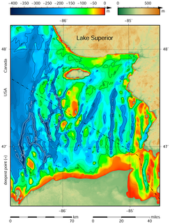 Eastern part of Lake Superior bathymetric map.[31][32] The submerged valleys may have originated as tunnel valleys.[33][34]