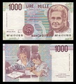 1000 lire – obverse and reverse – printed in 1990