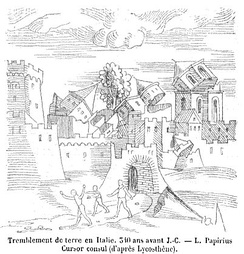 An image from a 1557 book depicting an earthquake in Italy in the 4th century BCE