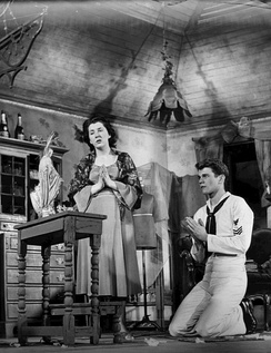 With Don Murray in The Rose Tattoo (1951).