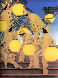 Maxfield Parrish: The Lantern-Bearers, 1908. Appeared as frontispiece of Collier's Weekly, December 10, 1910.