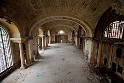 Michigan Central Station (built 1914) and its Amtrak connection went out of service in 1988. It was bought by Ford Motor Company in 2018 and will be the center of mixed-use development.