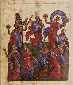 "Miriam and women celebrate the crossing of the Red Sea with ""timbrels"" (small hand drums) (from the Tomić Psalter)."