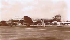 A Pan American World Airways L-049 Constellation at London Heathrow International Airport.