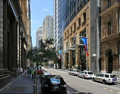 Pitt Street, a major street in Sydney CBD, runs from Circular Quay in the north to Waterloo in the south.[215]