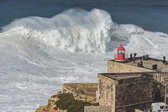 Tow-in surfing in Nazaré, Portugal.
