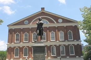 "Samuel Adams, described on the 1880 statue by Anne Whitney at Faneuil Hall as ""A Stateman: Incorruptible and Fearless"""