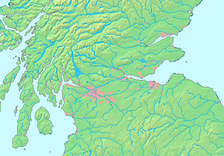 The larger Central Belt area with urban areas (pink), including Ayrshire in the south-west and Tayside to the north-east