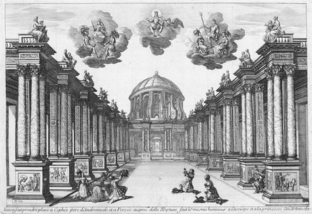 Torelli's set design for Act 5 of Pierre Corneille's Andromède as performed at the Petit-Bourbon in 1650